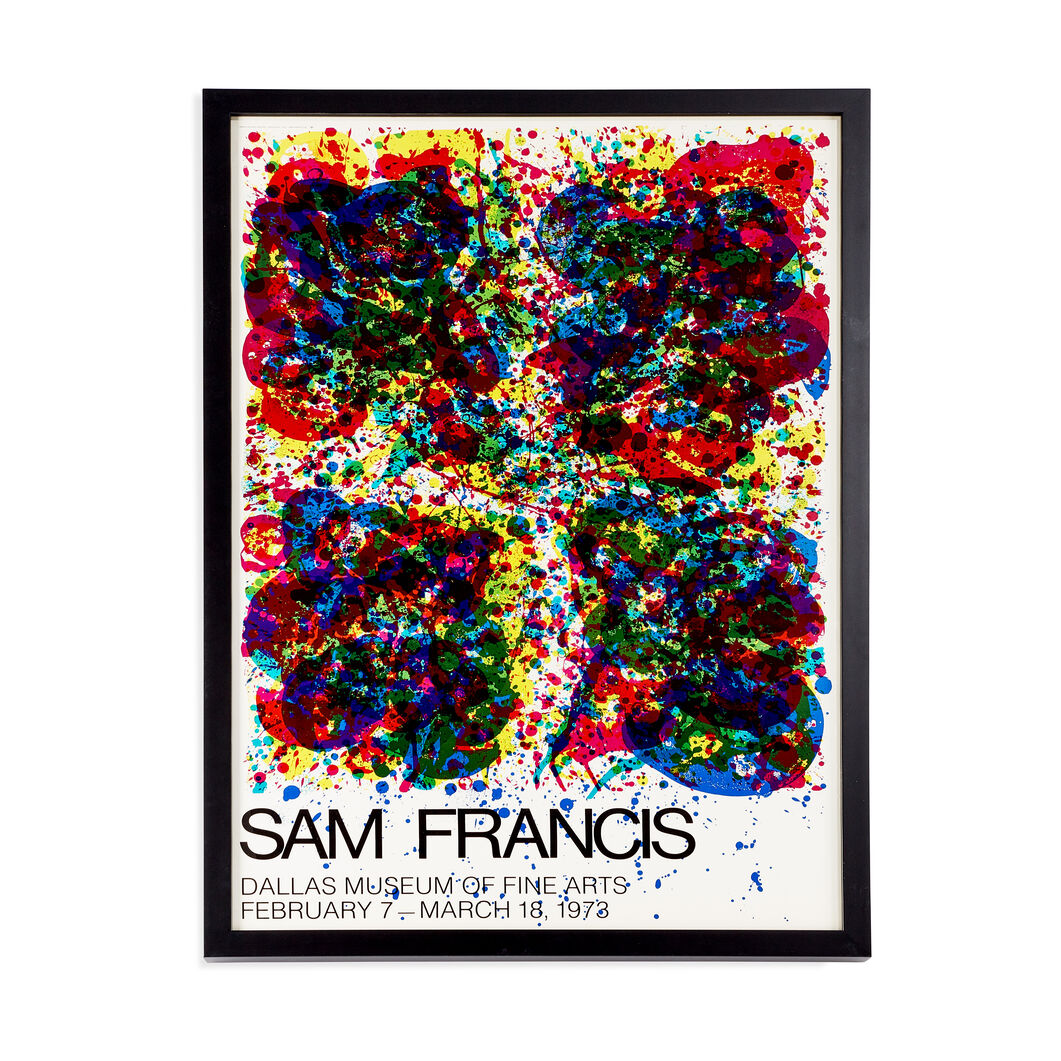 Sam Francis: 1973 Dallas Museum Exhibition Framed Poster in color