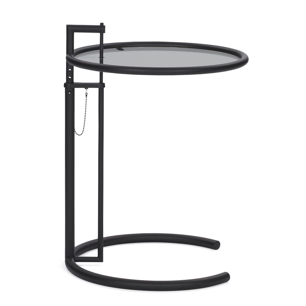 E1027 Side Table in color Black Steel Frame/ Smoked Glass