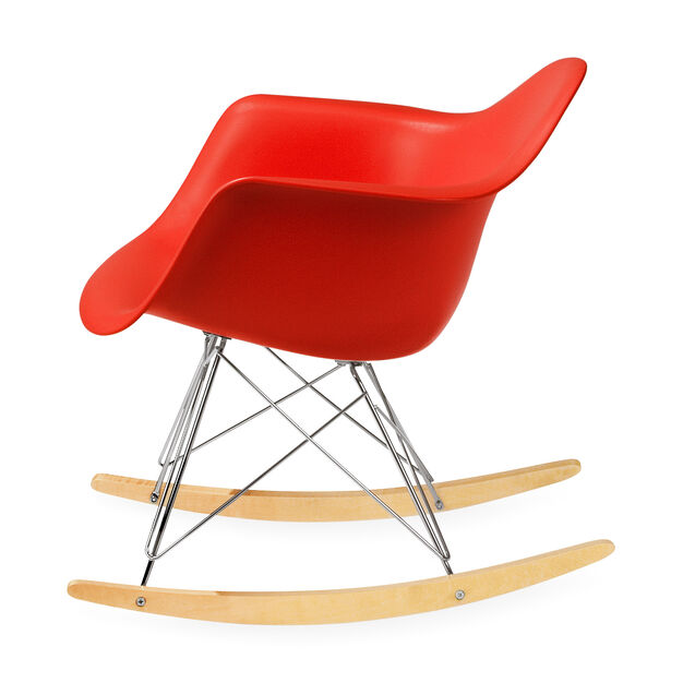 Eames® Molded Plastic Armchair with Rocking Base (RAR) in color Red
