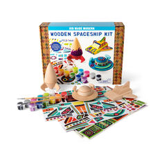 Kid Made Modern Wooden Spaceship Craft Kit in color