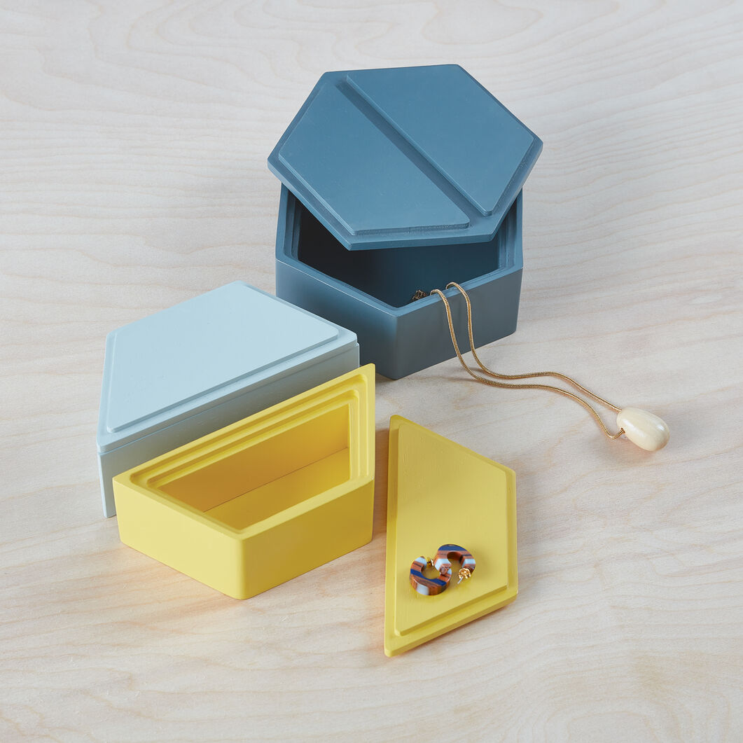 Honeycomb Stacking Jewelry Boxes in color Cool Tones