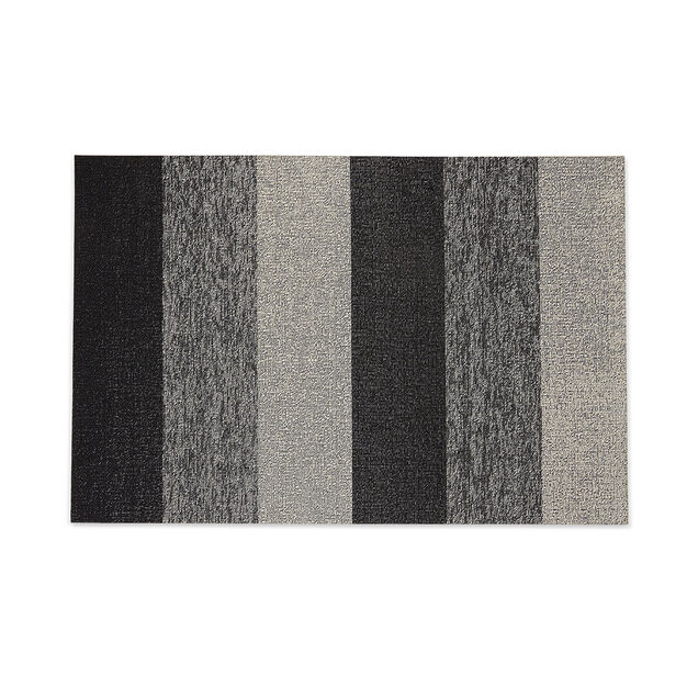 Chilewich Marbled Stripe Shag Floormat in color Black/ White