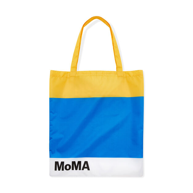 MoMA Logo Foldable Tote Bag in color Yellow/ Blue