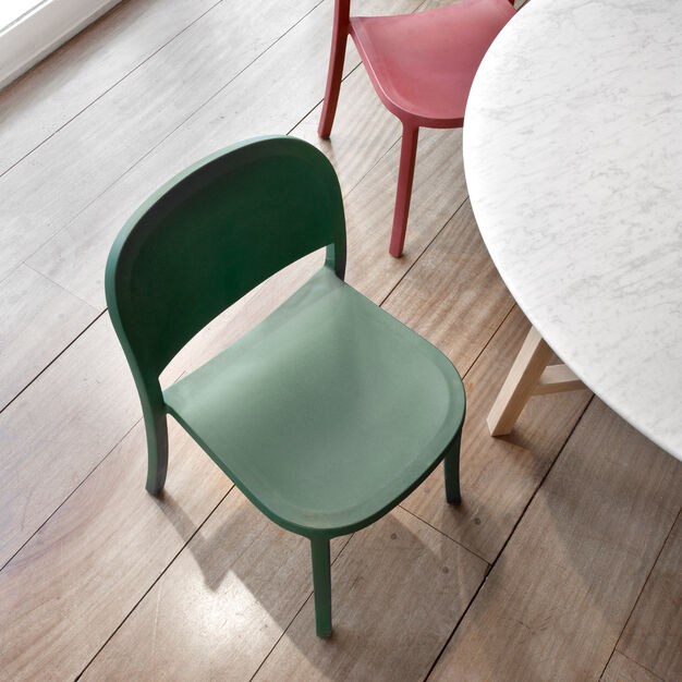 Emeco 1 Inch Reclaimed Stacking Chair in color Green