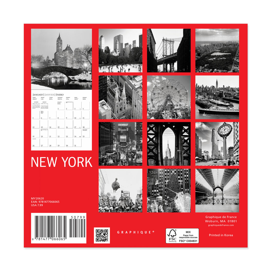 2020 New York Mini Wall Calendar in color