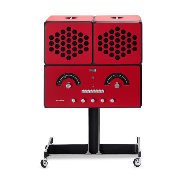 Brionvega Radiofonografo Radio and Turntable in Red in color
