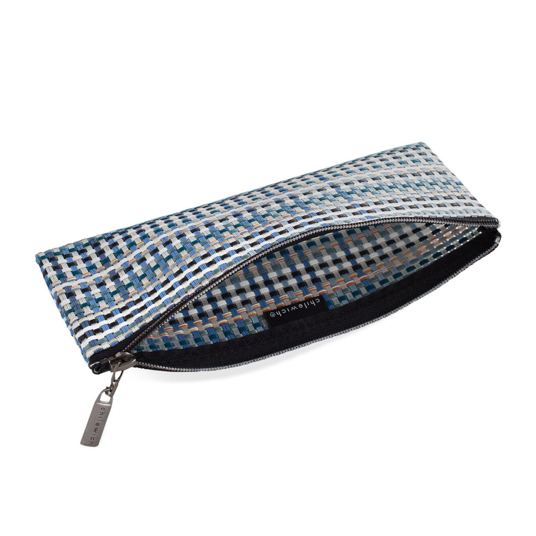 Chilewich Zips & Totes - Blue Grid Zip in color Blue