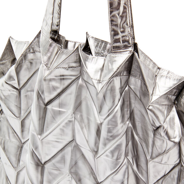 Origami Pleated Metallic Tote Bag in color