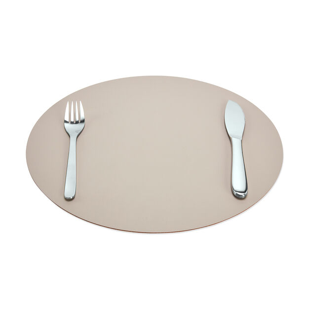 Dual-Sided Recycled Leather Placemat in color Yellow/ Light Grey