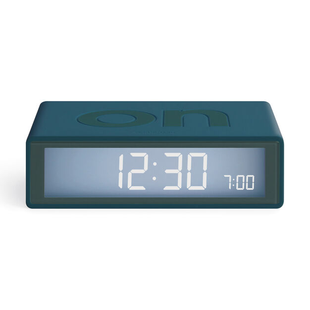 Lexon Flip+ Travel Alarm Clock in color Blue