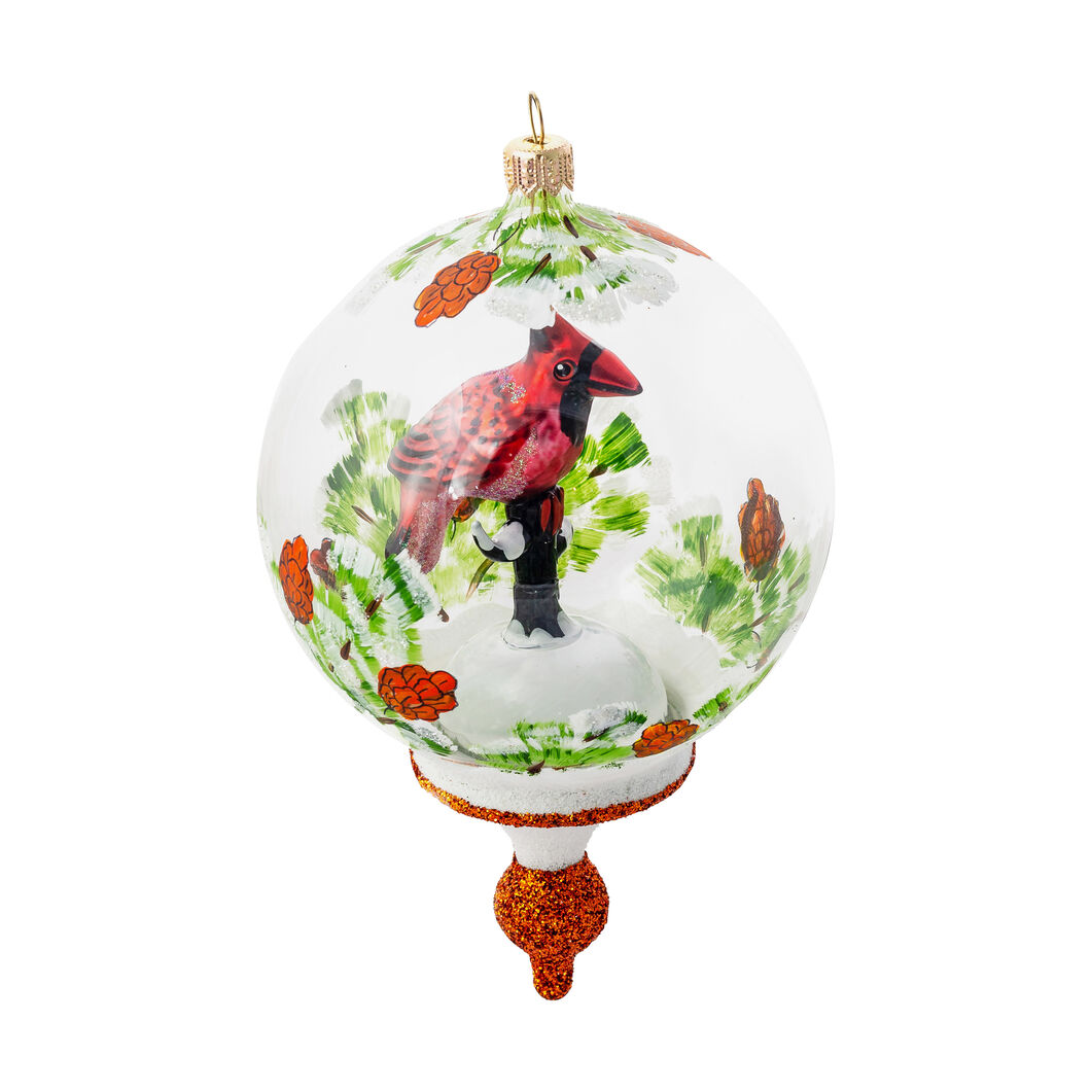 Glass Cardinal Globe Holiday Ornament in color