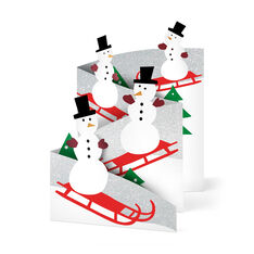 Sledding Snowman Holiday Cards - Set of 8 in color