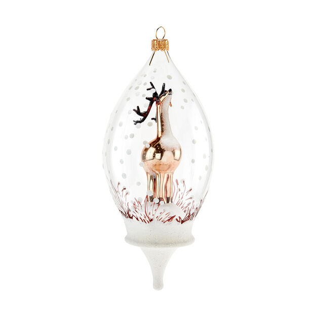 Frosty Reindeer Globe Holiday Ornament in color