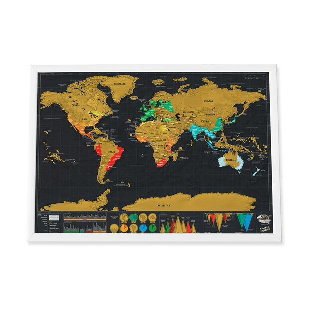 Small Scratch World Map in color