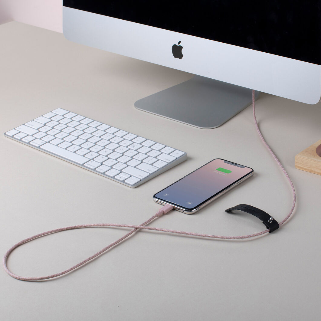 Belt Lightning Cable - Rose in color