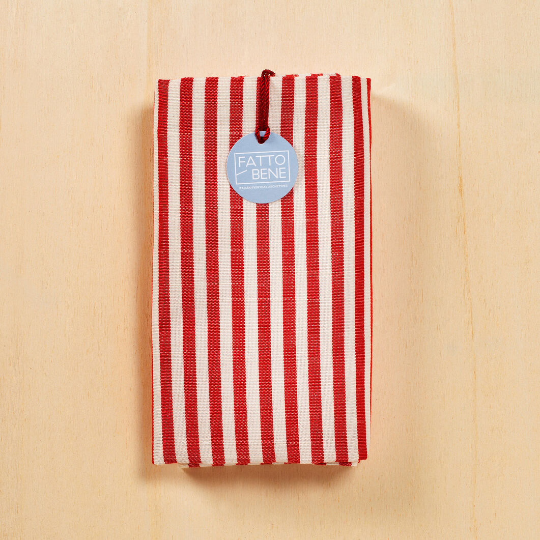 Traditional Striped Tea Towel in color Red