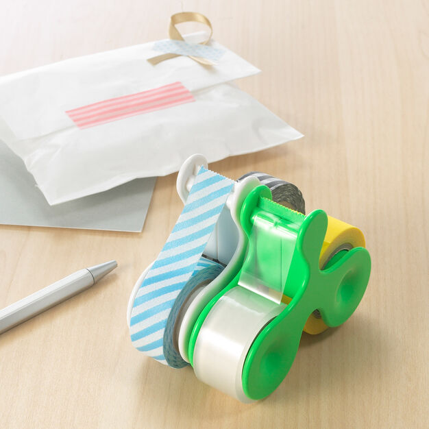 Tape + Tape Dispenser in color Green