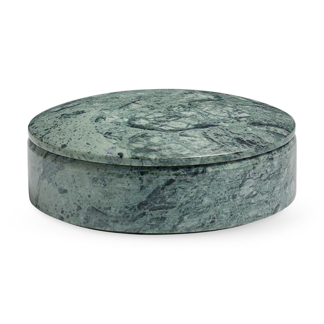 HAY Lens Box Medium Marble Green in color