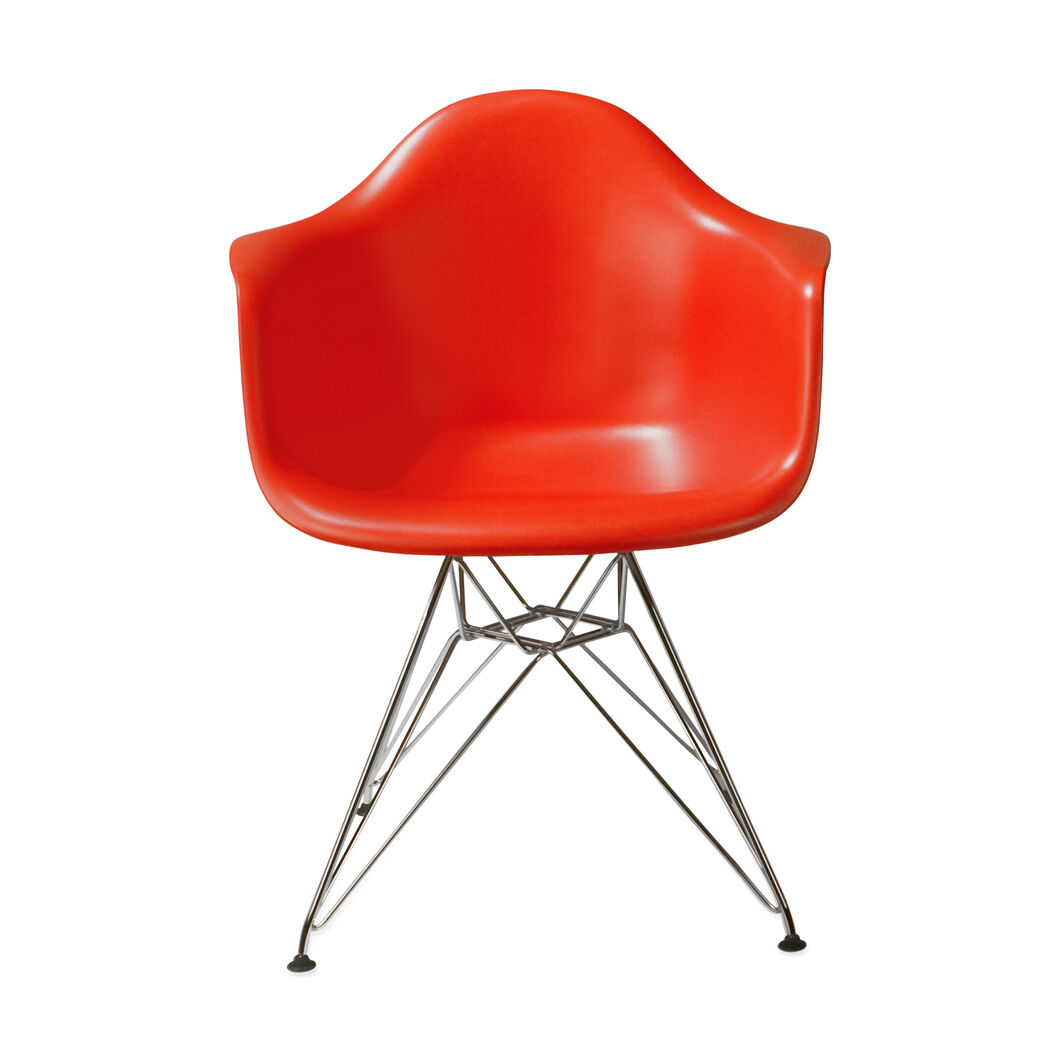 Eames® Molded Plastic Armchair with Wire Base (DAR) in color Red
