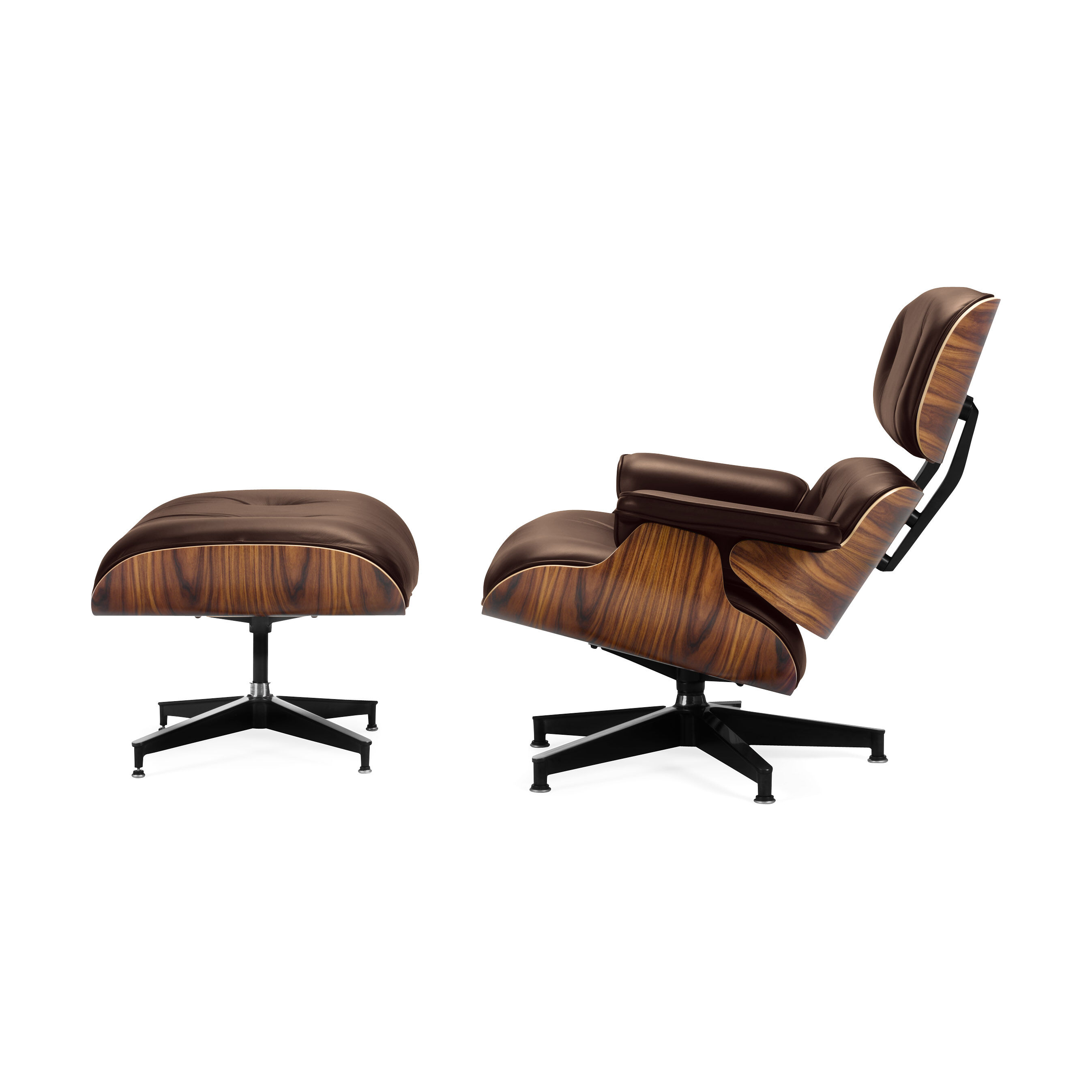 Gentil Eames Lounge Chair With Ottoman In Color Brown/ Walnut