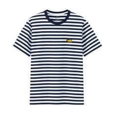 UNIQLO Keith Haring Dog Striped T-Shirt in color Navy/ White