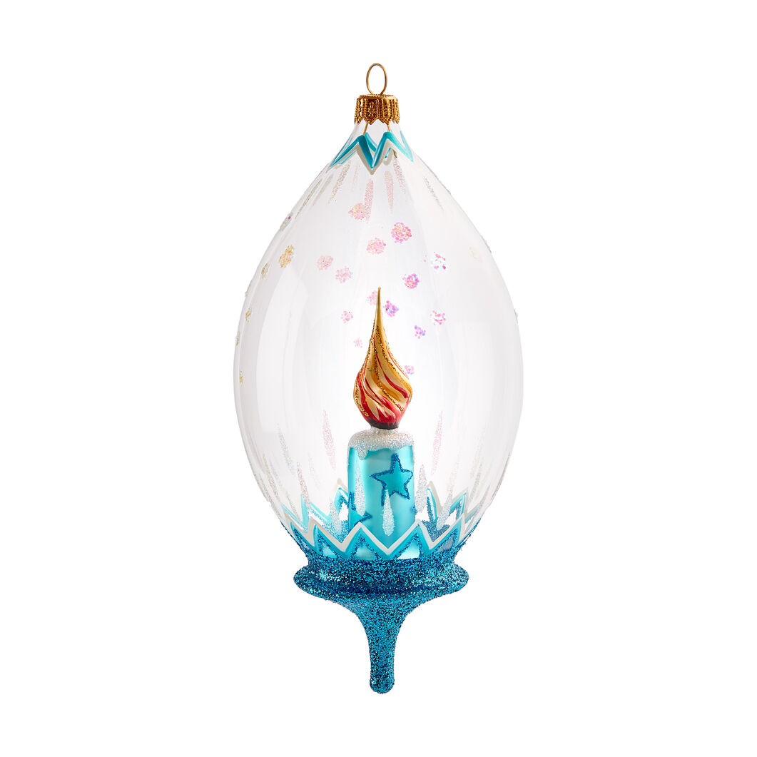 Glowing Candle Globe Ornament in color
