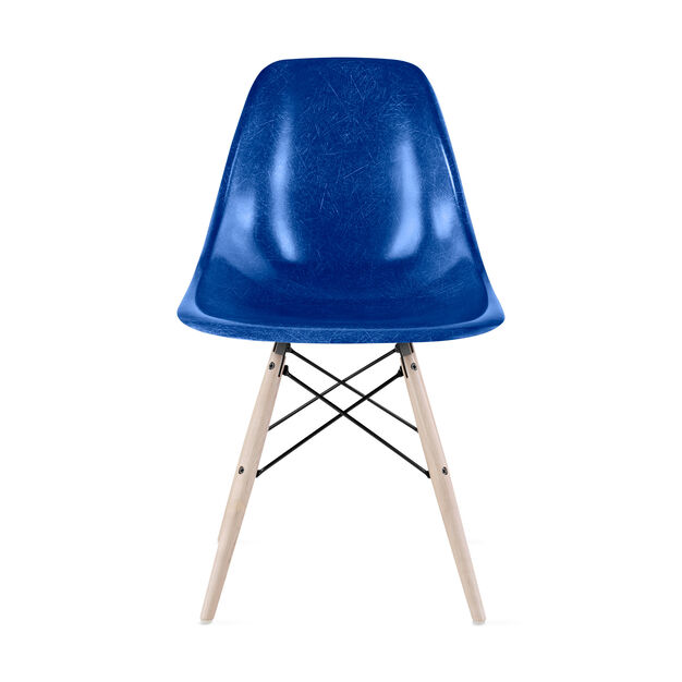 Eames® Molded Fiberglass Side Chair from Herman Miller© in color Navy Blue
