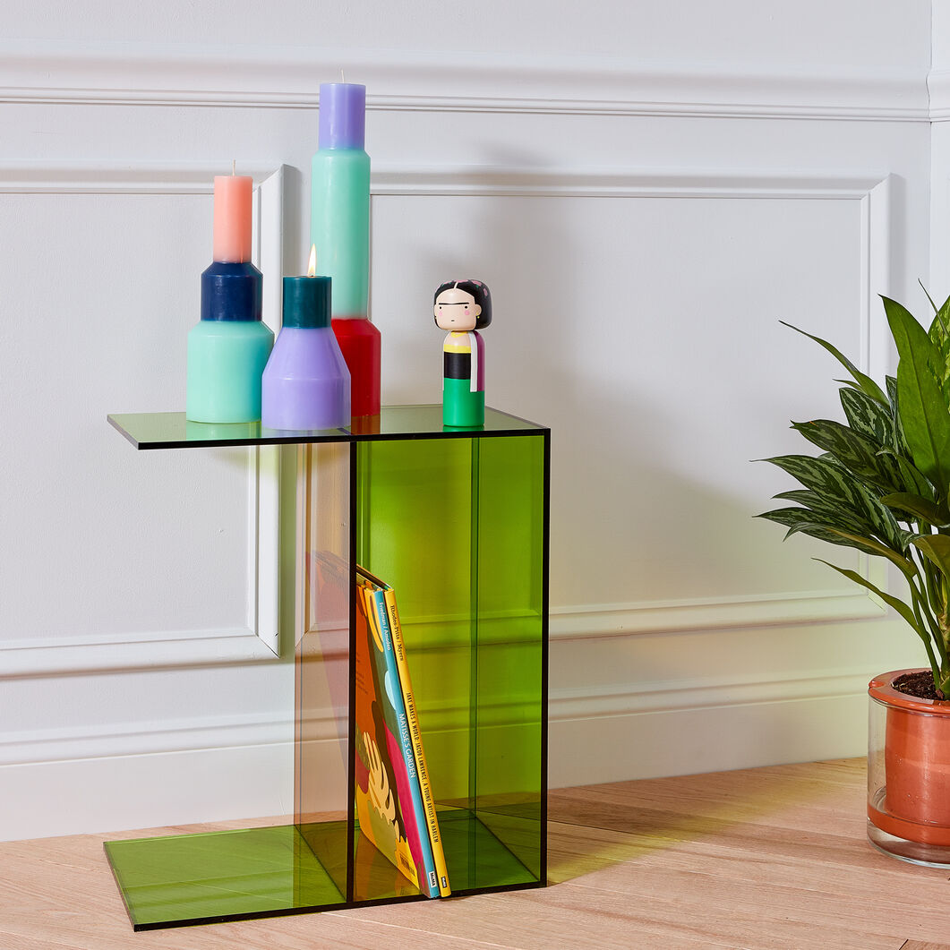 Two-Way Side Table in color Green/ Orange