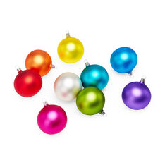 Matte Rainbow Holiday Ornament Set in color