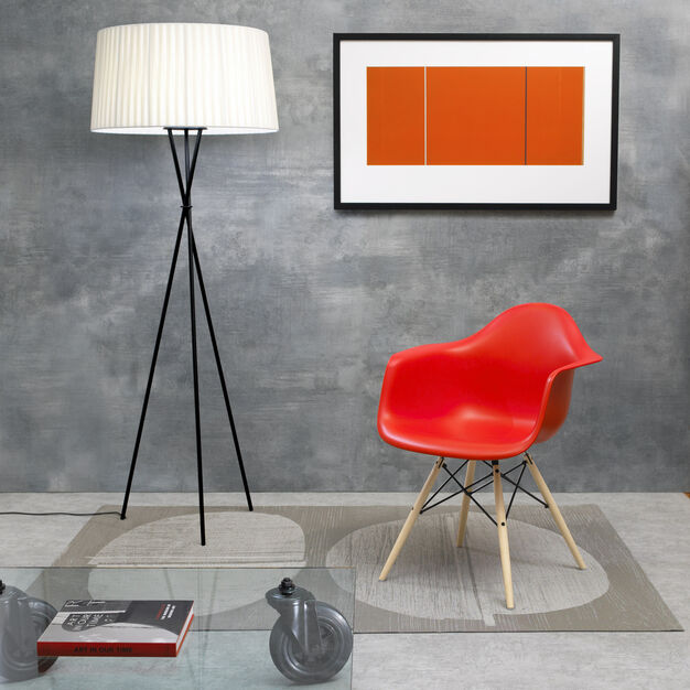 Eames® Molded Plastic Armchair with Dowel-Leg Base (DAW) from Herman Miller© in color Red