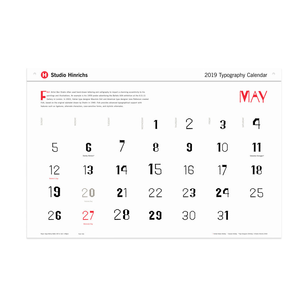 2019 Typography Calendar in color