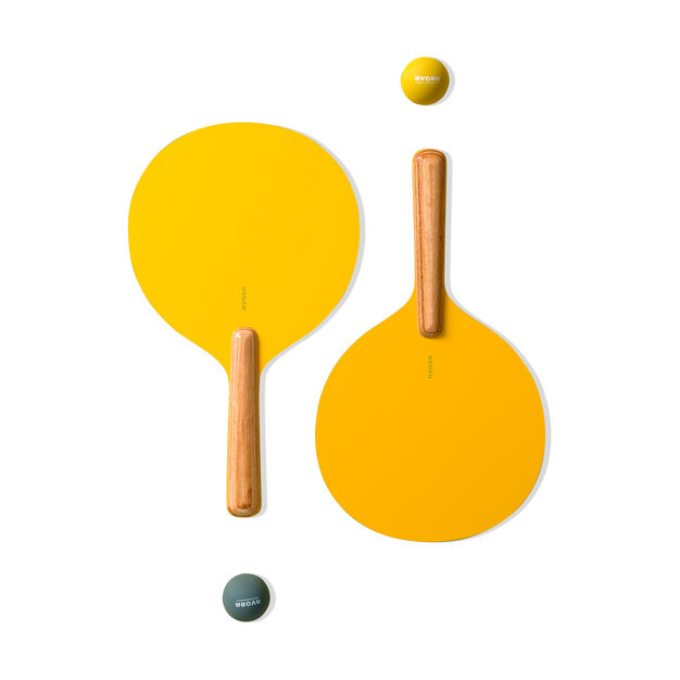 Wooden Paddle Ball Set in color Yellow