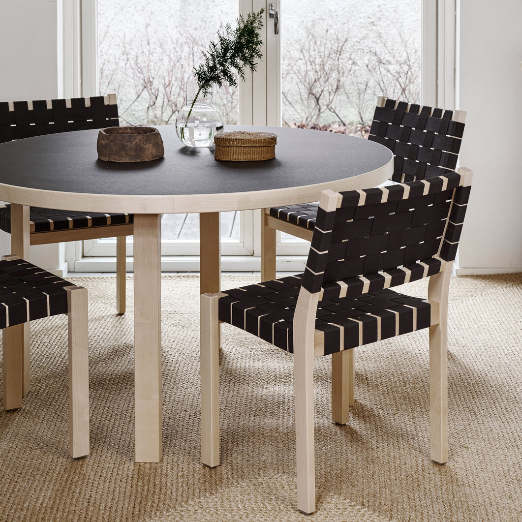 Artek Aalto Round Dining Table 91 in color Black