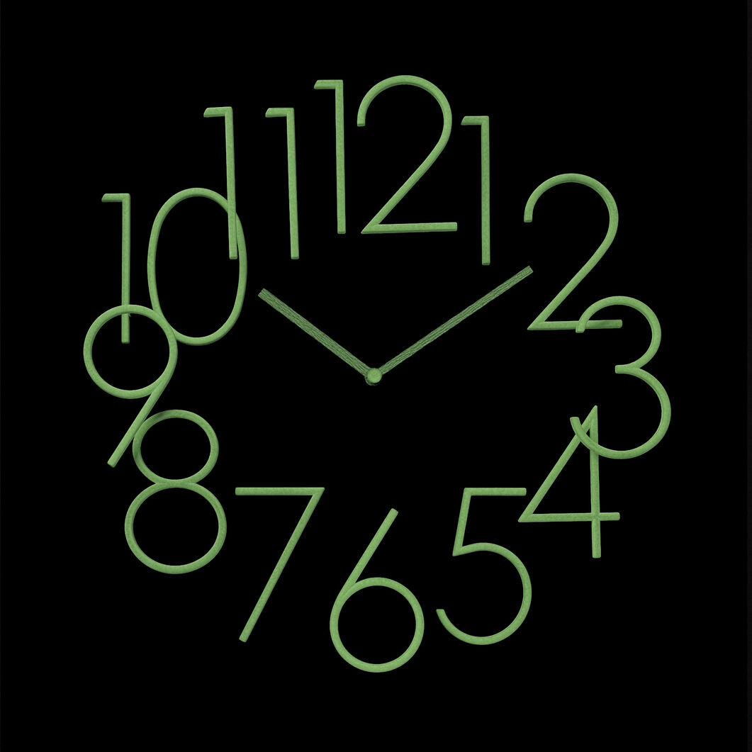 Glow in the dark wall clock moma design store glow in the dark wall clock in color amipublicfo Images