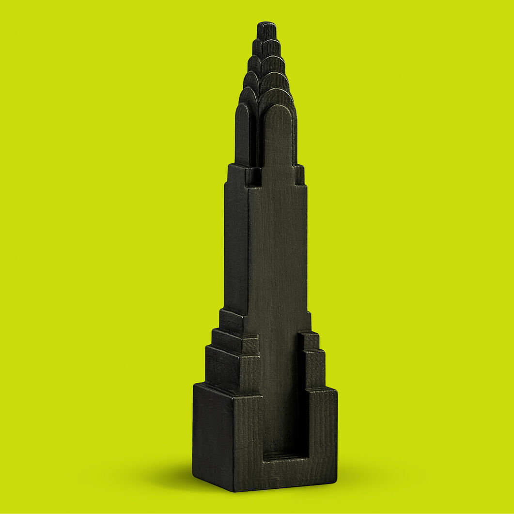 Graphite Chrysler Building Sculpture in color