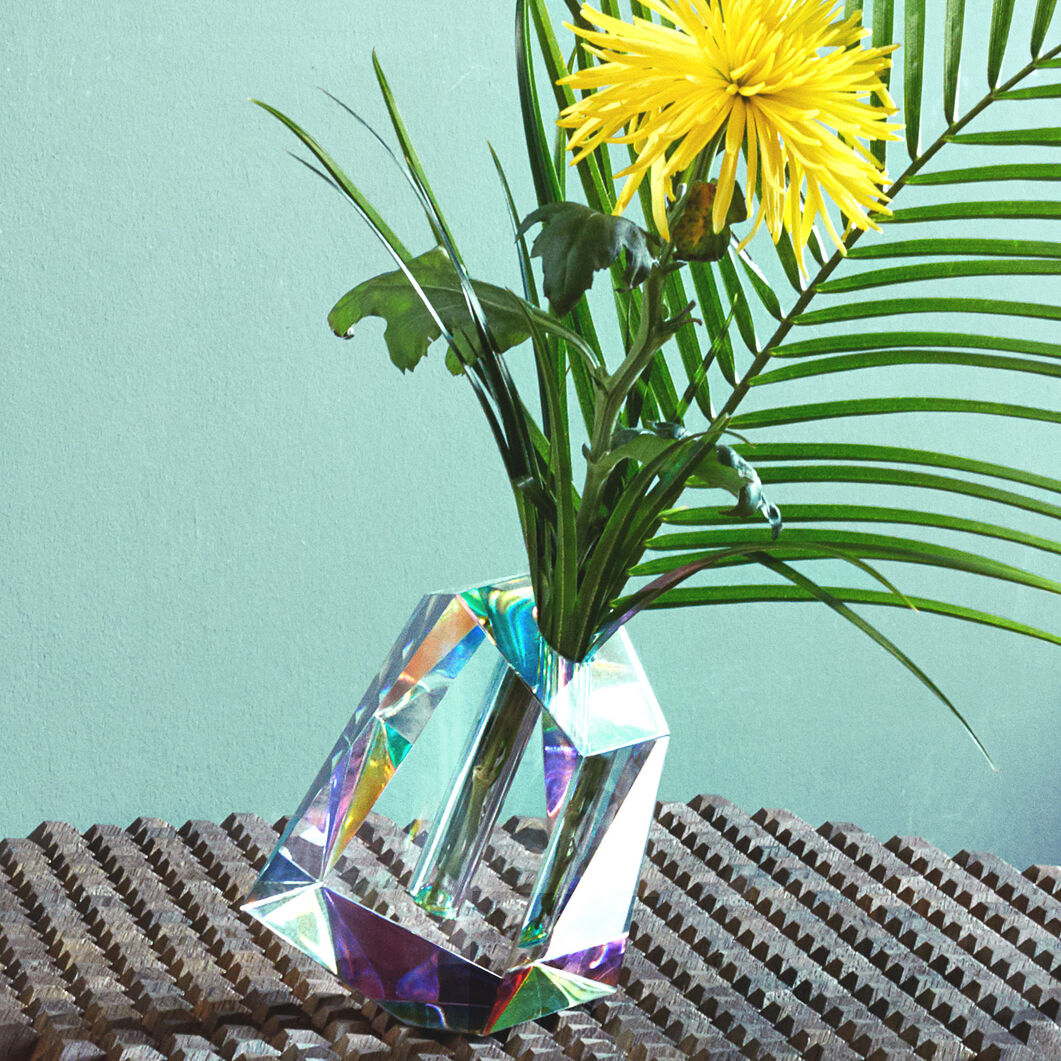 Irregular Crystal Vase in color Multi/ Transparent