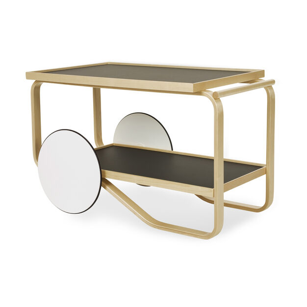 Artek Aalto Tea Trolley 901 in color White/ Black/ Birch
