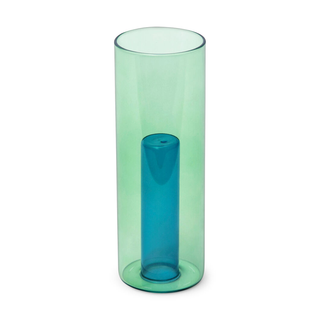 Reversible Glass Vase in color Blue/ Green