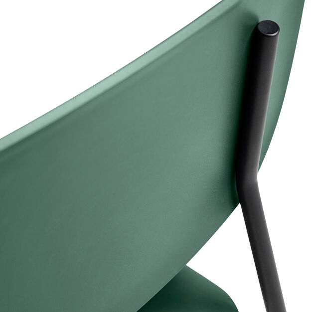 HAY Soft Edge P10 Stackable Chairs in color Green/ Black