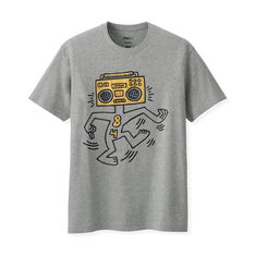UNIQLO Keith Haring Boombox T-Shirt in color Gray