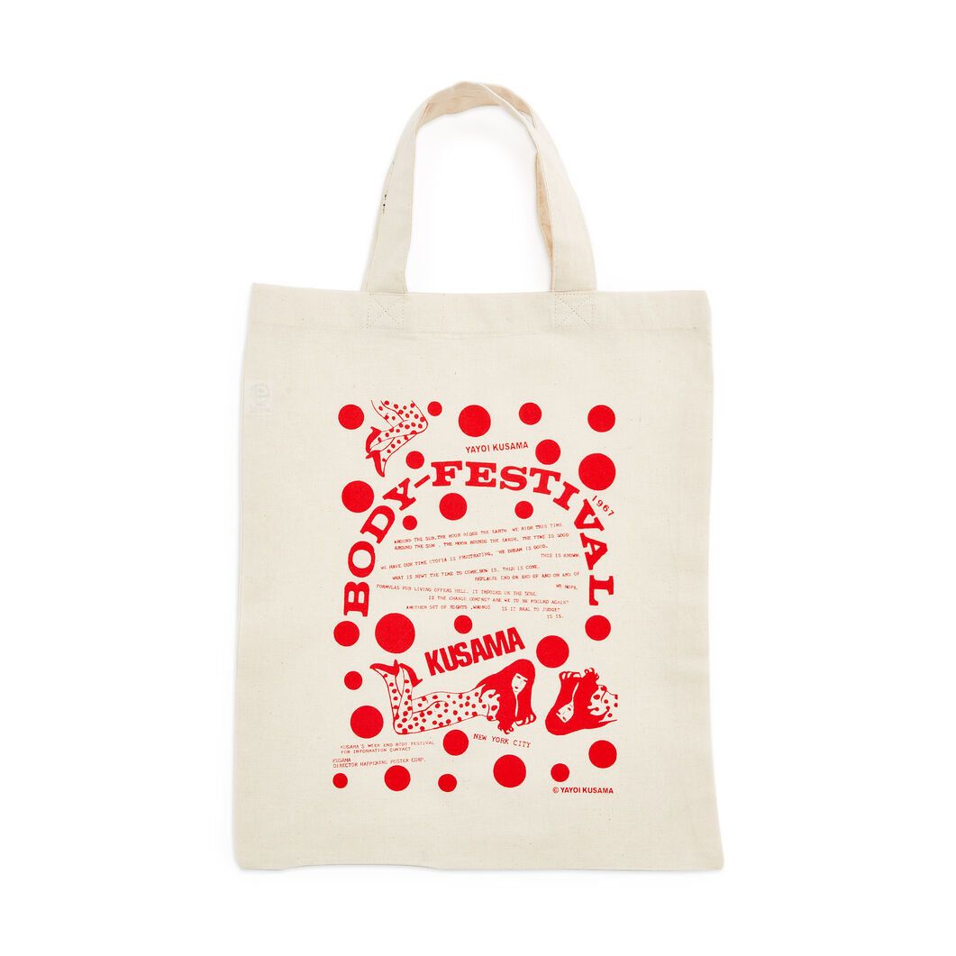 Yayoi Kusama Body Festival Tote Bag in color Red