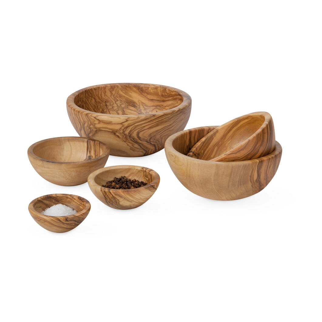 Petite Olive Wood Nesting Bowls in color