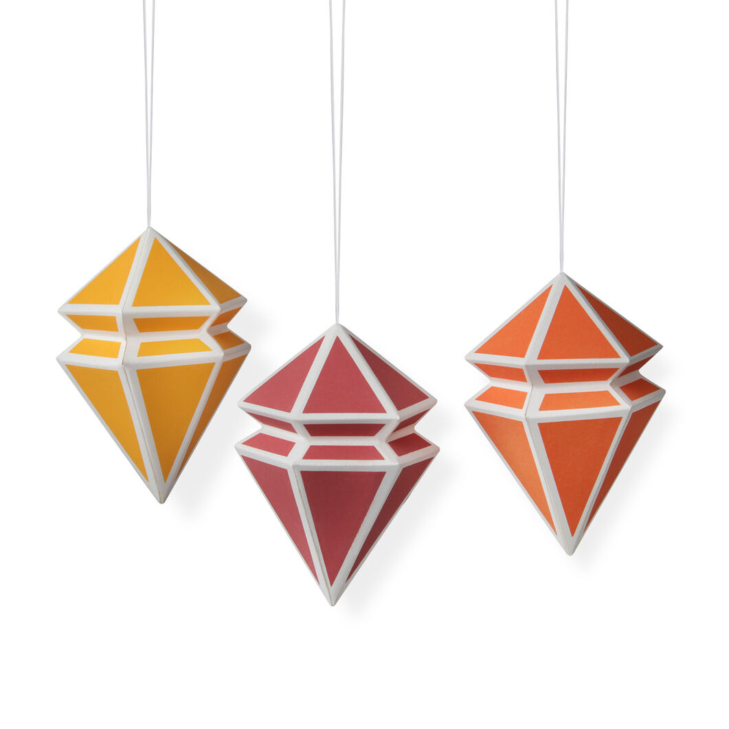 Geometric Paper Ornament Set: Cool Colors in color
