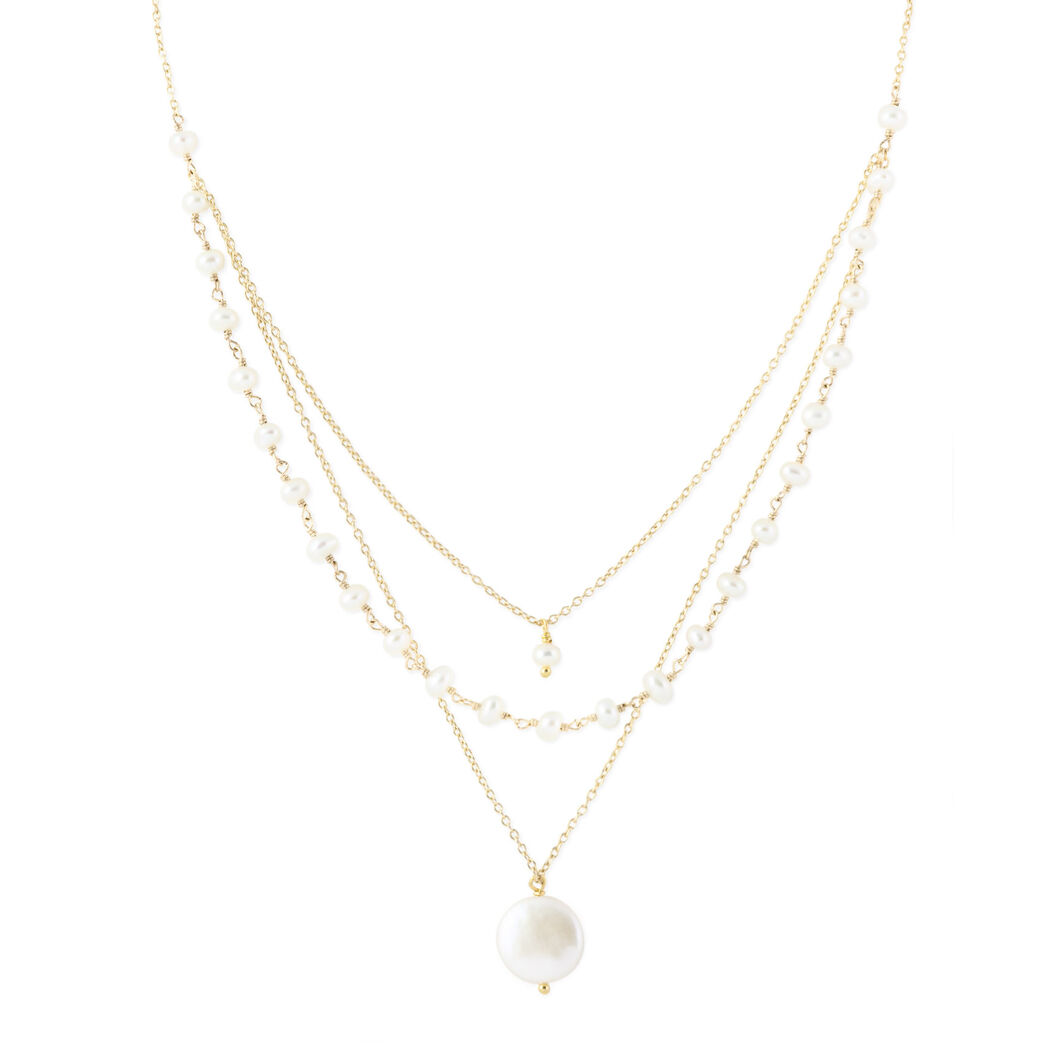 Triple Strand Gold Pearl Necklace in color