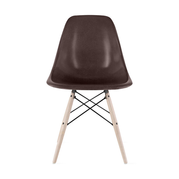 Eames®Molded Fiberglass Side Chair from Herman Miller© in color Seal Brown