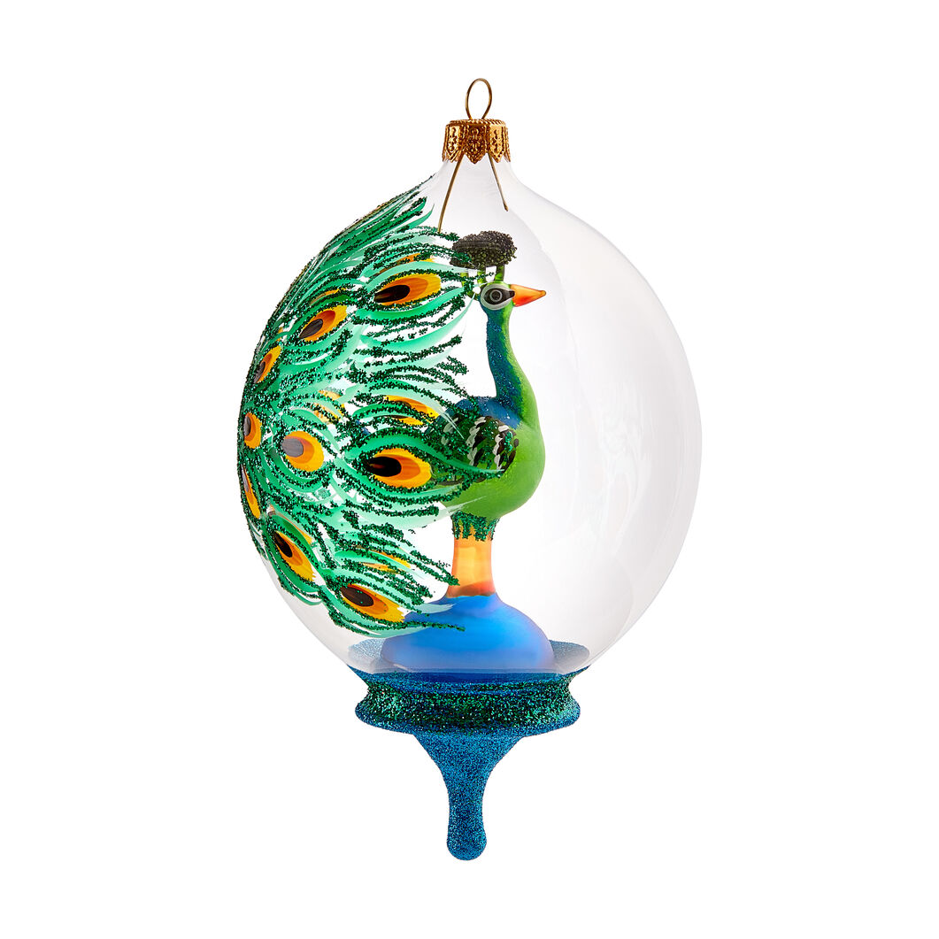 Bejeweled Peacock Globe Ornament in color