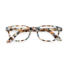 IZIPIZI Rectangular Reading Glasses #B in color Blue Tortoise