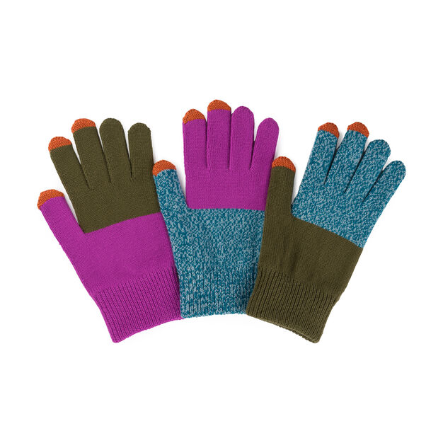 Pair & a Spare Color Block Smart Gloves in color Teal/ Magenta