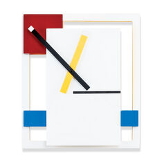 De Stijl Wall Clock in color