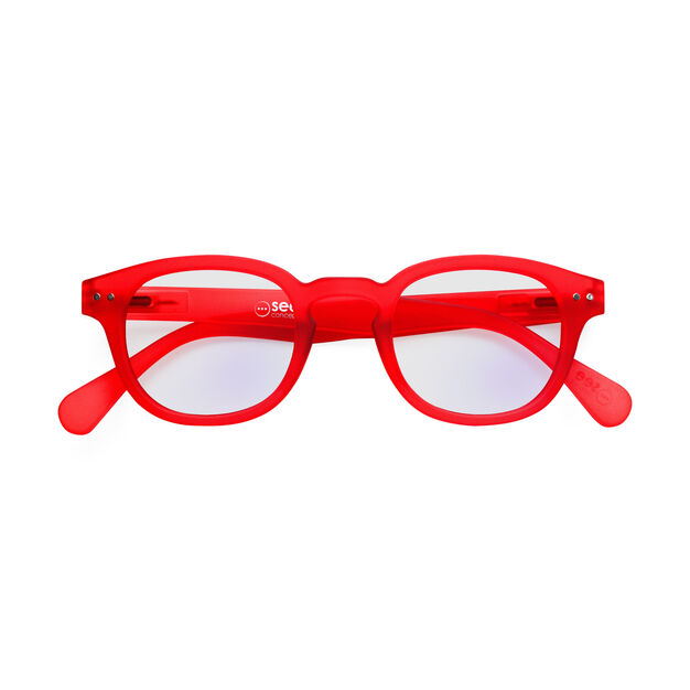 IZIPIZI Rounded-Edge Square Screen Glasses #C in color Red Crystal